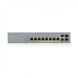 ZyXEL GS1350-12HP, 8xPoE+2xSFP+2XCopper Port Smart Managed CCTV PoE Switch, (8xConfigurable extended range ports), 130W