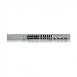ZyXEL GS1350-26HP, 24xPoE+2x(SFP/RJ-45) Port Smart Managed CCTV PoE Switch, (16xConfigurable extended range ports), 375W