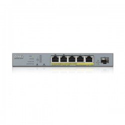 ZyXEL GS1350-6HP, 5xPoE+1xSFP Port Smart Managed CCTV PoE Switch, (5xConfigurable extended range ports), 60W